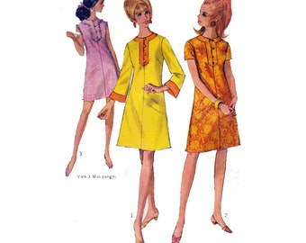 """Vintage 60s Women's Dress Sewing Pattern Mod Frock with Bell Sleeves Size 16 Bust 36"""" (91 cm)  Simplicity 7115 S"""