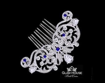 Bridal Hair Comb,Bridal headpiece,wedding hair comb, blue hair comb,blue hair accessories,wedding head piece,blue wedding,something blue