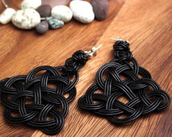 Chinese Knot Earring by Natural Leather Rope, Black, with 925 Sterling Silver Ball Ear Wire (004)