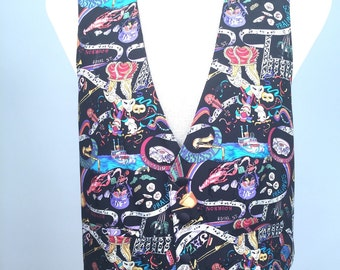 Mardi Gras Silk Vest by Nicole Miller Mens Size Medium