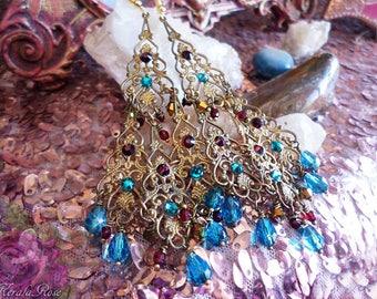 "East Indian Peacock Blue & Garnet Crystal Antique Filigree Chandelier Earrings, Swarovski Rhinestones, 4 1/2"", Victorian, Ethnic Moroccan"