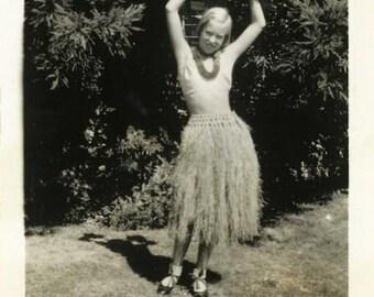 "Vintage Photo ""Hula Hannah"" Hawaiian Grass Skirt Snapshot Antique Photo Old Black & White Photograph Found Paper Ephemera Vernacular - 157"
