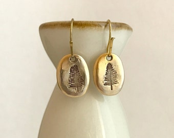 Gold Pine Tree Stamped Earrings, antique rustic pewter pierced simple dangle drop trees nature gifts gift for her