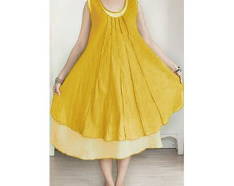 SALE 20% Off, Cotton Sleeveless Dress, Round Neck Comfy Maternity Dress, Double Layer Loose Summer Dress in Yellow