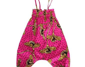 Baby romper in pink African print fabric, Ankara baby romper