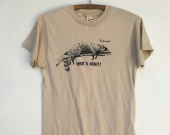 Vintage 80s What A Night! Colorado Raccoon T Shirt Screen Stars 50/50 Small