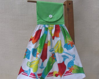 Summer Drink Kitchen Tea Towel, Beach Drink Towel, Hanging Kitchen Towels