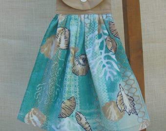 Sea Shell Kitchen Towel, Beach Theme Hanging Towel, Beach House Decor, Beach Lover Gift