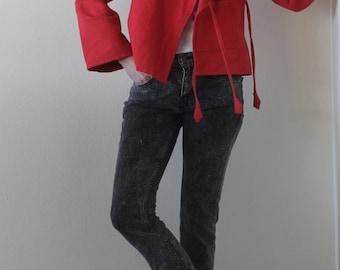 Vintage 90s Cotton Jacket Red Made in Nepal Woven Asymmetrical Avant Garde Lightweight Boho Jacket