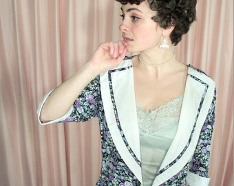 Lavender and Pastel Floral Spring Jacket Blouse, Lapel, Cuffs