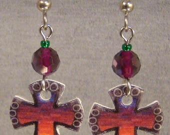 Rainbow Cross Dangle Earrings - Religious Jewelry - Symbolic Jewellry