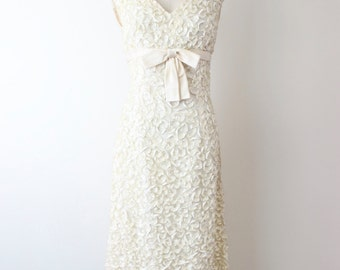 1960s HARDEY AMIES White Ribbon Evening Gown