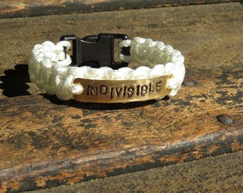 Indivisible Bracelets, Survival, Knotted Skinny Paracord, Brass Charm, Black Plastic Buckle, White, Black, Rainbow,  #Resist, Hope