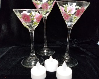 Hand Painted Candle Holders, Pink Floral Trio