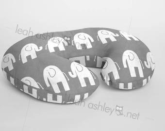 Boppy® Cover, Nursing Pillow Cover - Dark Gray Elephant Minky - BC1