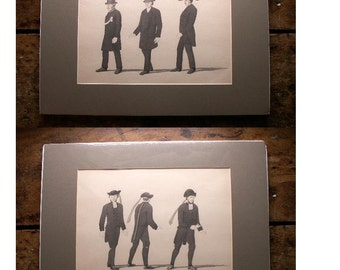 Set of Four Original Mens Costume Drawings - Pen and Ink and Watercolor - Victorian and Turn of the Century