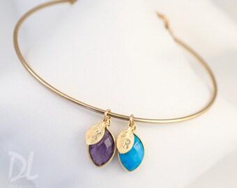 Family Birthstone Charm Bangle - Baby Shower Gift - Initial Bracelet - Custom Bracelet - Family Tree Bracelet - Personalized Gift Jewelry