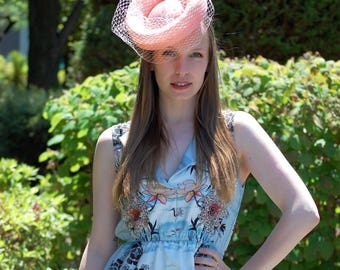 Modern Coral Pink Fascinator hat With Veil