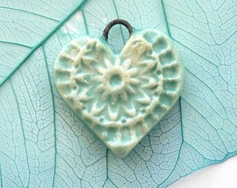 Ceramic heart charms , 3 heart pendants, handmade clay heart beads, rustic boho, unique jewelry supplies, jewellery making, craft supply