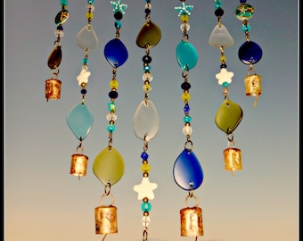 Seaglass wind chime, beach glass mobile, seaglass art, beach decor, hanging Mobile, brass bells, tiered wind chime, starfish beads