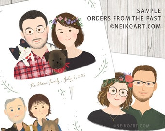 PRINTABLE custom portrait, couple portrait, with or without pet.