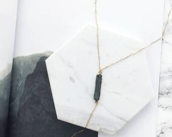 Druzy Lariat Necklace, Bar Lariat Necklace, Gemstone Necklace, Y Necklace, Modern Lariat, 18k Gold Necklace, Layering Necklace, Pendant