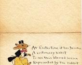 Eastertime Habits- 1900s Antique Postcard- Edwardian Easter Rabbit- Hand Drawn Card- Anthropomorphic- Paper Ephemera- Used