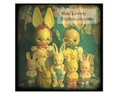 Vintage Plastic Bunny Rabbit Doll Collection 5x5 Inch Photography Print, Weird Easter Decor