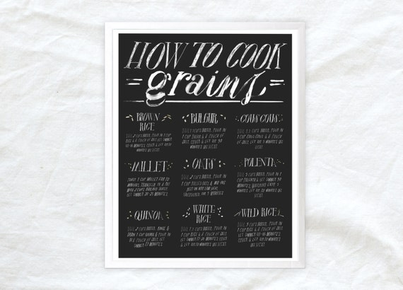 how to cook grains kitchen poster - 11x14 food art print for vegans vegetarians and foodies