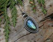 Blue Aqua Labradorite Faceted Pendant Necklace in Sterling Silver. Handmade artisan bezel set jewelry.