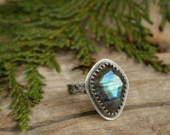 Aqua Blue Labradorite Faceted Stacking Statement Ring in Sterling Silver. US Size 8.75, 9, 9.25. Handmade artisan bezel set jewelry.