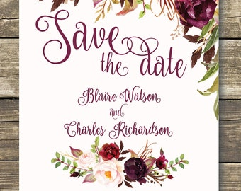 Printed Save The Date - Floral Wedding - Fall Wedding - Watercolor Floral - Burgundy / Marsala / Wine / Blush Rustic Wedding