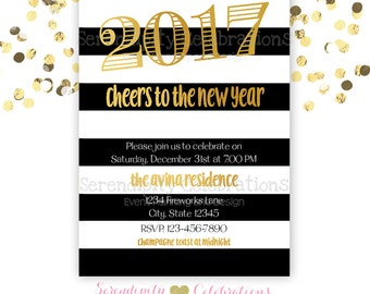 Gold Black and White Invitation, Black and White Stripe Invitation, New Years Invitation, Gold Foil Invite, New Years Party, Birthday Invite