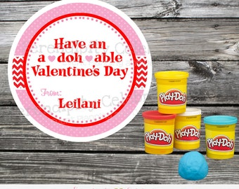 Play Doh Valentine's Day Stickers, Play Dough Valentine Tags, Valentine's Day Favor Tags, Kids Valentine Days Cards, School Valentines