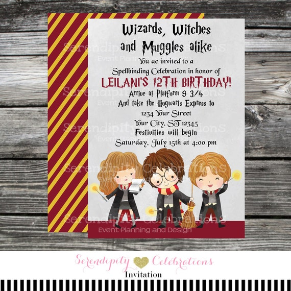Printed Birthday Invitation Harry Potter Harry Potter Invite