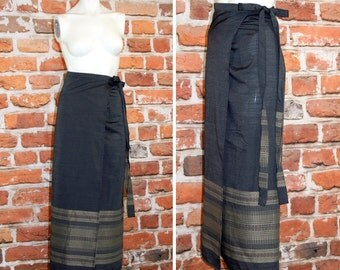 Grey Boho Wrap Skirt / India Gypsy Floor Length Skirt / One Size