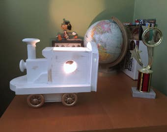 Little White Train Vintage Inspired Golden Wheels Lamp Wall fixture or Desk Nightlight