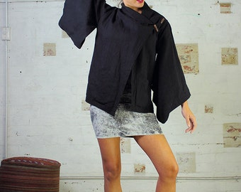 Ki Jacket Black Linen - Kimono Jacket, Black Kimono, Linen Jacket, Linen Kimono, womans jacket.