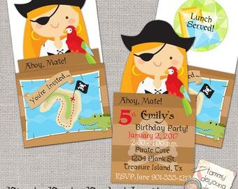 Girl Pirate Party Invitation, Printable Pirate Birthday Party Invite, Girls Birthday invitation, Kids Birthday Party Invite, Treasure Hunt