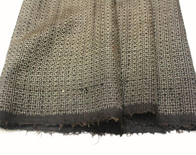 Antique Ooshima Tsumugi Ikat Silk. Japanese Vintage Artisan Fabric. Hand Loomed Textile. Botanical Dye. Brown. (Ref: 1559)