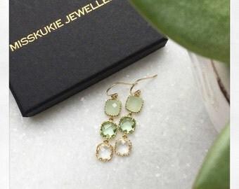 Gold Drop Earrings - Unique Jewellery, UK Jewellery, Gifts for her, Green Earrings, Gold Earrings, Delicate Jewellery, Delicate Earrings