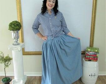 Chambray Blue Midi Skirt, Mini Skirt or Maxi Ball skirt  full, gathered skirt custom made to order also in Plus Size