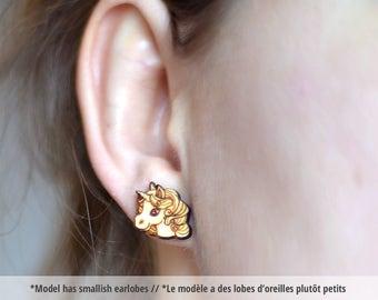 Unicorn wood earring studs. Unicorn earrings stainless, pony earring studs, cute pony studs, wood unicorn studs, mythical unicorn jewelry