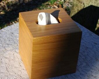 "The BlackWater TBC - White Oak Tissue Box Cover, ""Cube Style"""