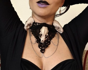Triple Skull necklace with chains- Goth, Victorian, Steampunk, Vampire, Voodoo, Witch