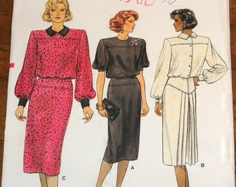 Vogue 9406 Blouson Dress with Yoke Skirt, Back Pleat Womens Misses Vintage 1980s Sewing Pattern Size 6 8 10 Bust 30 31 32 Uncut Factory Fold