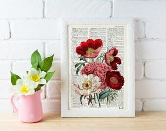 Summer Sale Vintage Book Print Dictionary or Encyclopedia Page Print- Book print Flower Bouquet on Vintage Encyclopedic BFL057