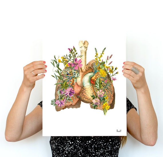 Spring Sale Human Lungs  with wild flowerswall art print human Anatomical art prints, wall art gifts for doctor,  wall decor art  WP168