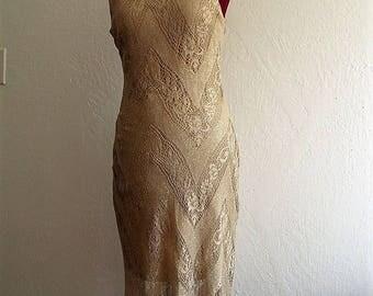 Gold 1920s style with fringe Maxi  Dress