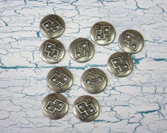 10 Small Metal SW Santa Fe Style Buttons Antiqued Silver